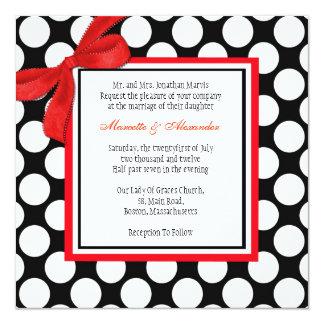 Invitación roja y negra del boda del lunar
