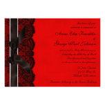 Invitación roja y negra del boda del vintage del c