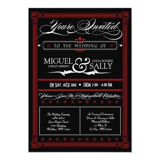 Invitación roja y negra del estilo del poster de invitación 12,7 x 17,8 cm