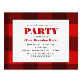 Invitación roja y negra del fiesta de la tela
