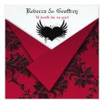 Invitación roja y negra gótica del boda