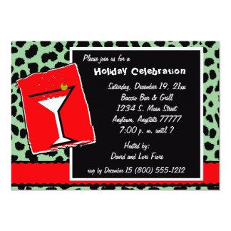 Invitación roja y verde del fiesta de Martini del