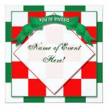 Invitación - - rojo a cuadros/verde