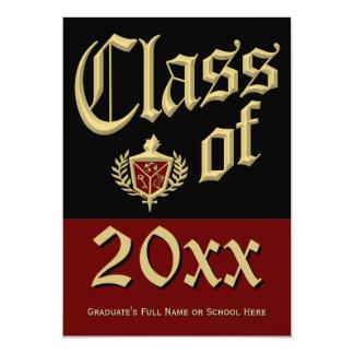 Invitación rojo oscuro de la graduación del escudo invitación 12,7 x 17,8 cm