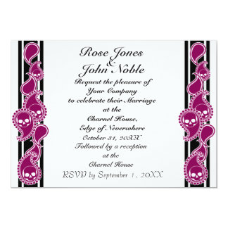 Invitación (Rojo-Violeta) anversa del boda