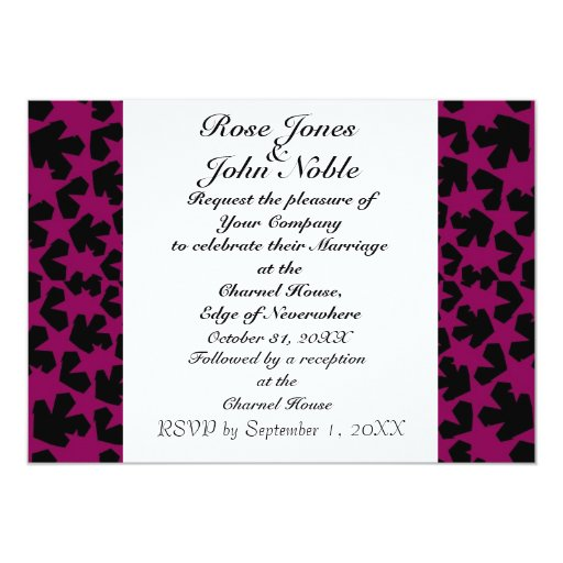 Invitación (Rojo-Violeta) de marfil del boda de