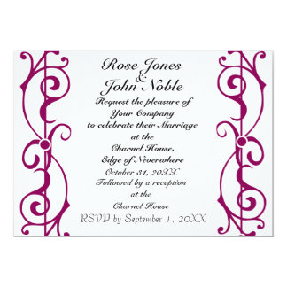 Invitación (Rojo-Violeta) de marfil del boda de la Invitación 12,7 X 17,8 Cm