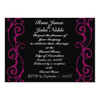 Invitación (Rojo-Violeta) del boda del ébano de la