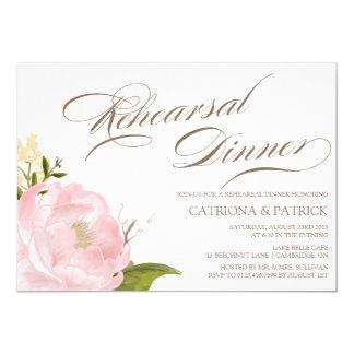 Invitación romántica de la cena del ensayo de la invitación 12,7 x 17,8 cm