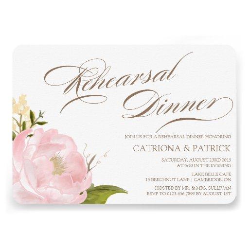 Invitación romántica de la cena del ensayo de la f