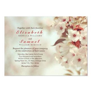 Invitación romántica del boda de la flor de cerezo