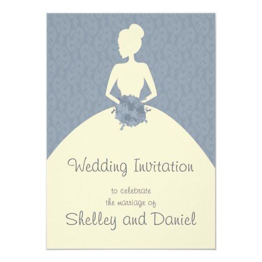invitación romántica del boda del damasco de la