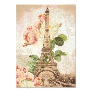Invitación romántica del vintage color de rosa