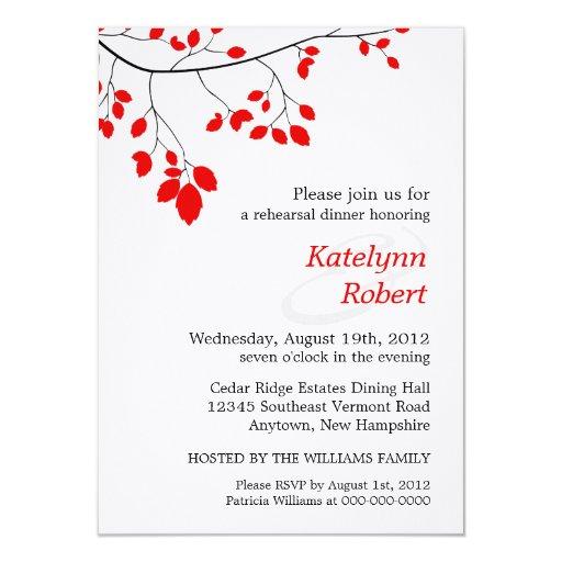 Invitación romántica roja de la cena del ensayo