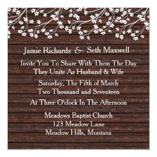 Invitación romántica rústica del boda