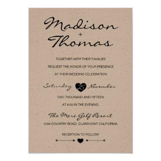 Invitación romántica rústica del boda de la