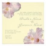 Invitación rosa clara del boda del hibisco