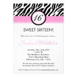 invitación rosa clara del cumpleaños de 5x7 Zebra1
