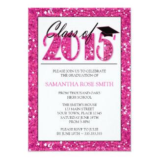 Invitación rosada 2015 de la fiesta de graduación