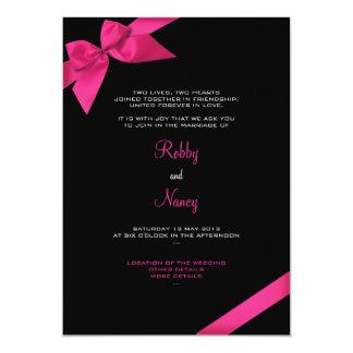 Invitación rosada 2 del boda de la cinta
