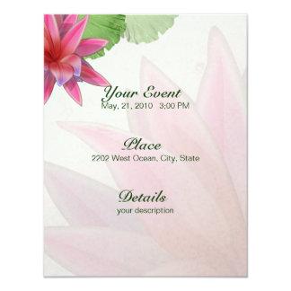 Invitación rosada 4,25 x 5,5 de Lotus