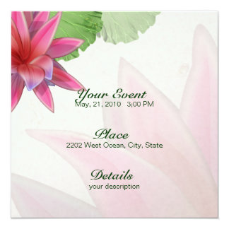 Invitación rosada 5,25 x 5,25 de Lotus
