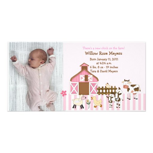 Invitación rosada 8x4 del nacimiento de la foto de tarjetas fotograficas personalizadas