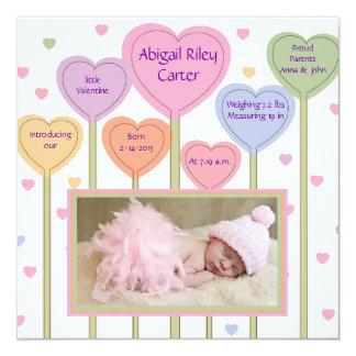Invitación rosada adorable del nacimiento de la invitación 13,3 cm x 13,3cm