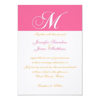 Invitación rosada anaranjada elegante del boda del invitación 12,7 x 17,8 cm