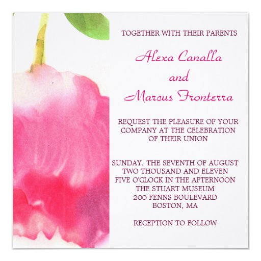 Invitación rosada bonita del boda del tulipán