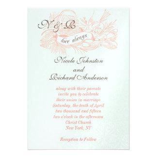 Invitación rosada coralina del boda del vintage de