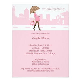Invitación rosada cosquilleada urbana de la fiesta invitación 10,8 x 13,9 cm