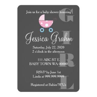 Invitación rosada de BabyShower del chica del