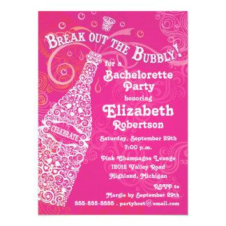 Invitación rosada de Bachelorette Champán