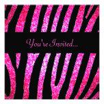 Invitación rosada de encargo de la raya de la cebr