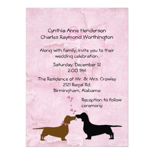 Invitación rosada de encargo del boda de los Dachs