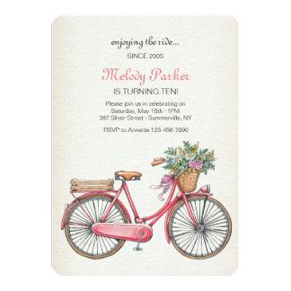 Invitación rosada de la bicicleta