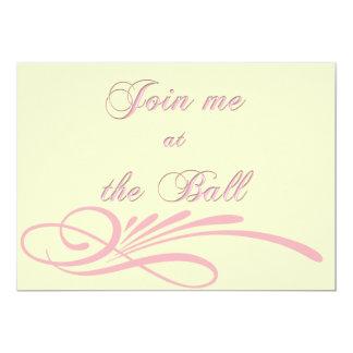 Invitación rosada de la bola del Debutante de