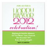 Invitación rosada de la cal de la Feliz Año Nuevo Invitación 13,3 Cm X 13,3cm