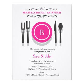 Invitación rosada de la cena del ensayo del