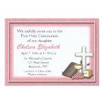 Invitación rosada de la comunión