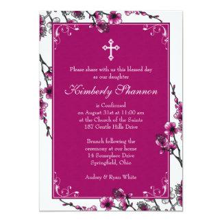 Invitación rosada de la confirmación de la flor de