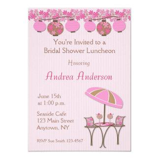 Invitación rosada de la ducha del alumerzo de la