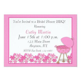 Invitación rosada de la ducha del Bbq de la