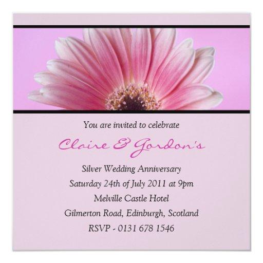 Invitación rosada de la fiesta de aniversario de