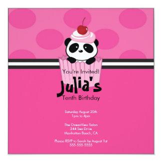 Invitación rosada de la fiesta de cumpleaños de la invitación 13,3 cm x 13,3cm