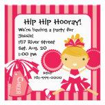 Invitación rosada de la fiesta de cumpleaños de la
