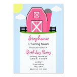 Invitación rosada de la fiesta de cumpleaños del