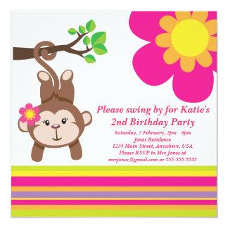 Invitación (rosada) de la fiesta de cumpleaños del invitación 13,3 cm x 13,3cm