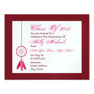 Invitación rosada de la fiesta de graduación de invitación 10,8 x 13,9 cm